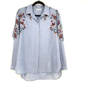 Beach Lunch Lounge Embroidered Chambray shirt M